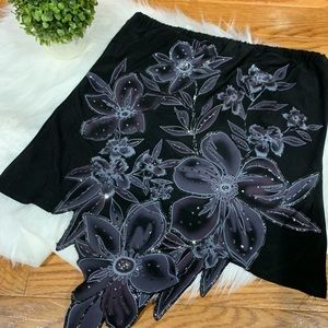 MKM Designs Rhinestone floral skirt